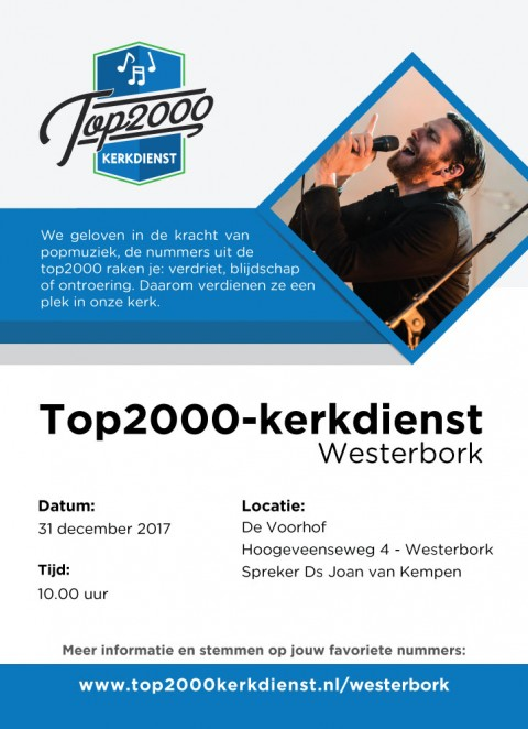 Top2000-kerkdienst in Westerbork ook in 2017